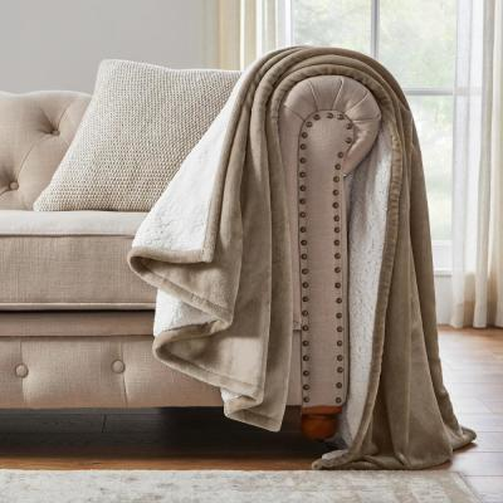 Oversized Plush Putty Sherpa Throw Blanket