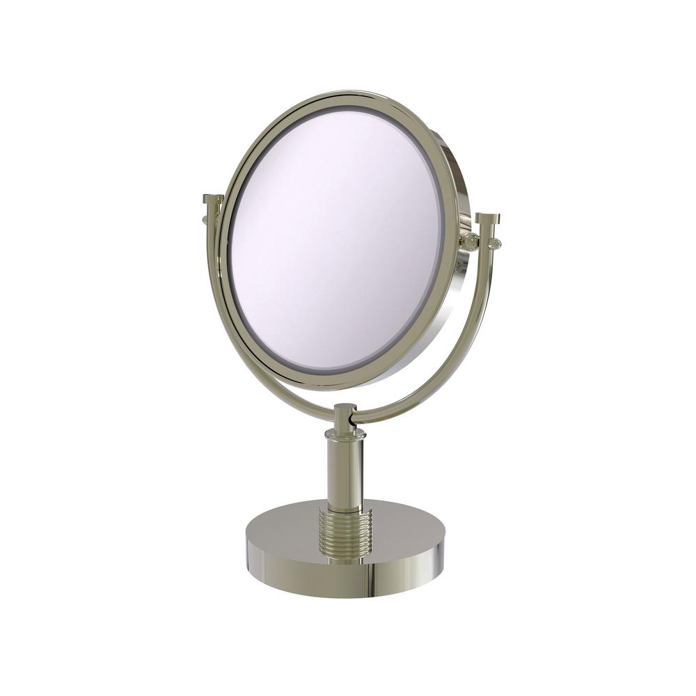 Allied Brass 8 in. Vanity Top Makeup Mirror 5X Magnification in Polished Nickel
