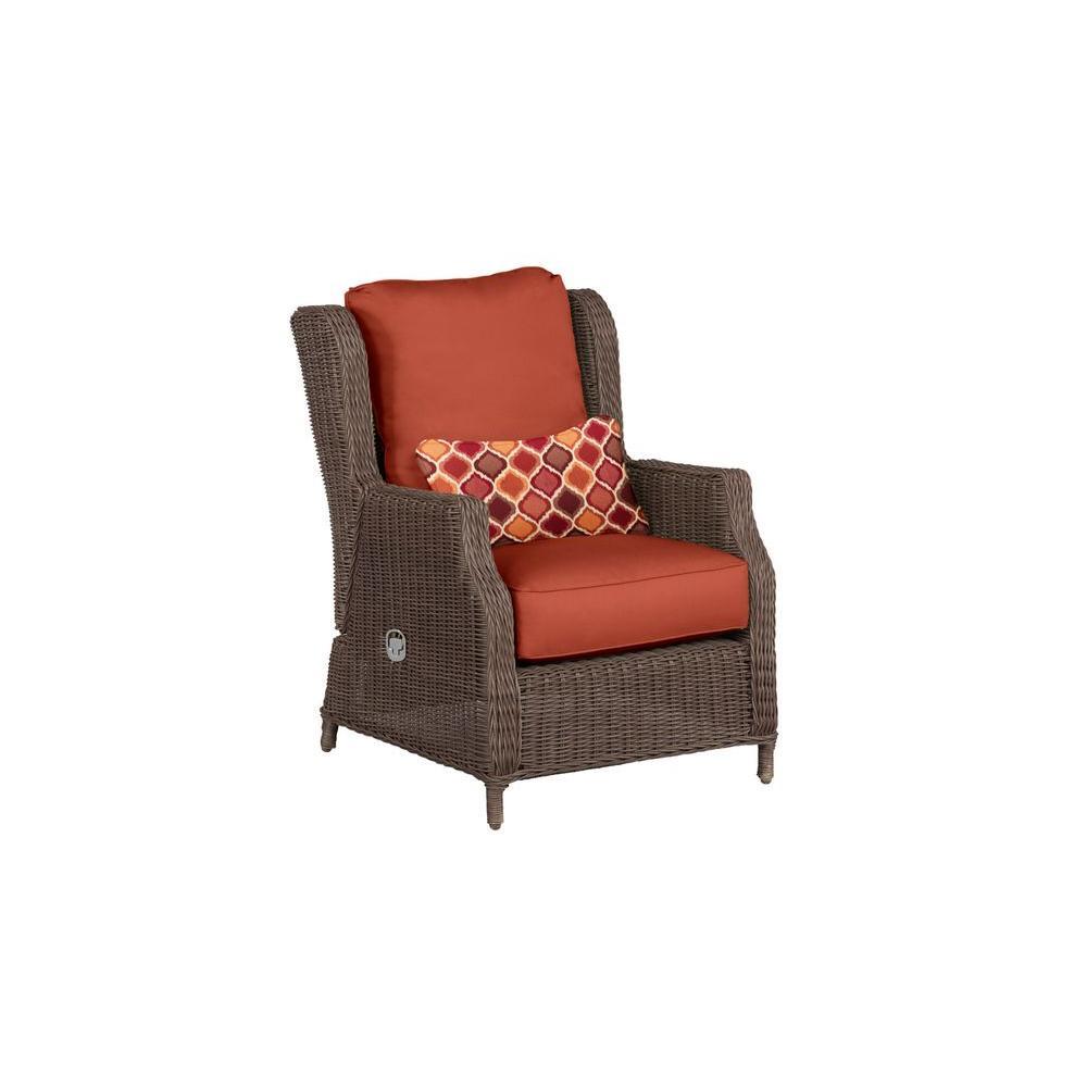 Vineyard Patio Motion Lounge Chair in Cinnabar with Empire Chili Lumbar Pillow -- CUSTOM