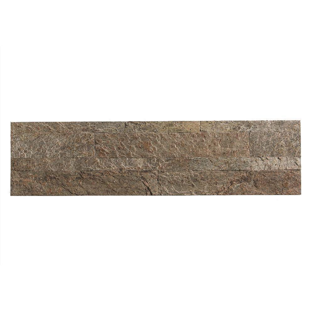 24 in. x 6 in. Peel and Stick Stone Backsplash in Tarnished Quartz