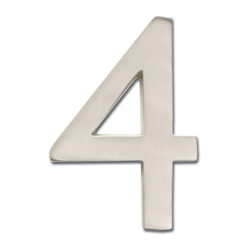 4 in. Satin Nickel Floating House Number 4