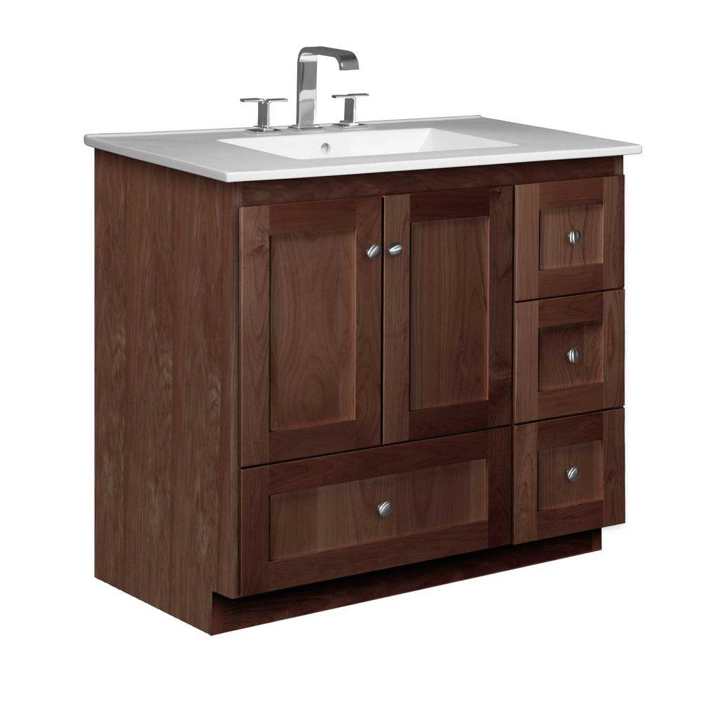 Simplicity by Strasser Shaker 37 in. W x 22 in. D x 35 in. H Vanity with Right Drawers in Dark Alder with Ceramic Vanity Top in White