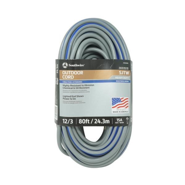 80 ft. 12/3 SJTW Outdoor Heavy-Duty Extension Cord with Power Light Plug, Gray/Navy