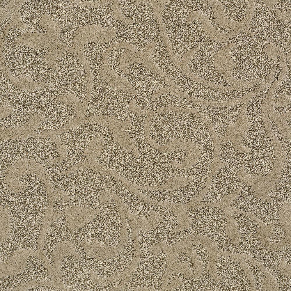 Lifeproof Carpet Sample Swirling Vines Color Beige