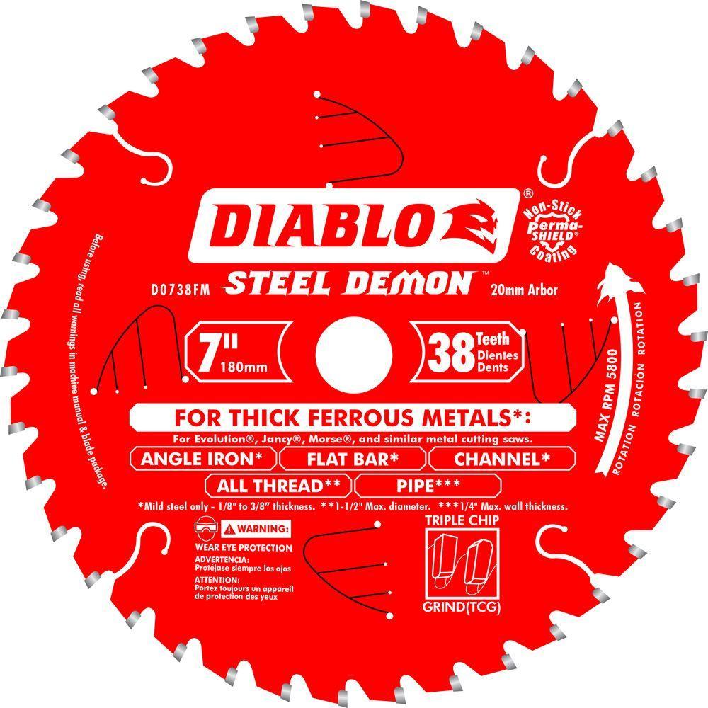 7 in. x 38-Tooth x 20mm Arbor Steel Demon Ferrous Metal