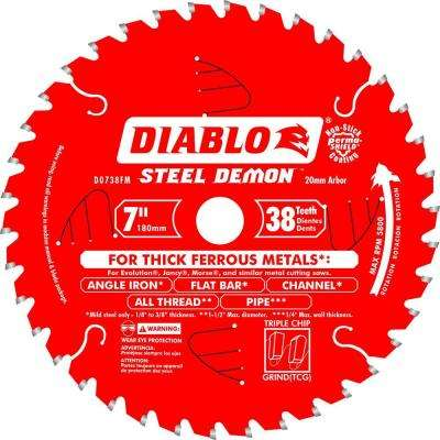 7 in. x 38-Tooth x 20mm Arbor Steel Demon Ferrous Metal Cutting Saw Blade