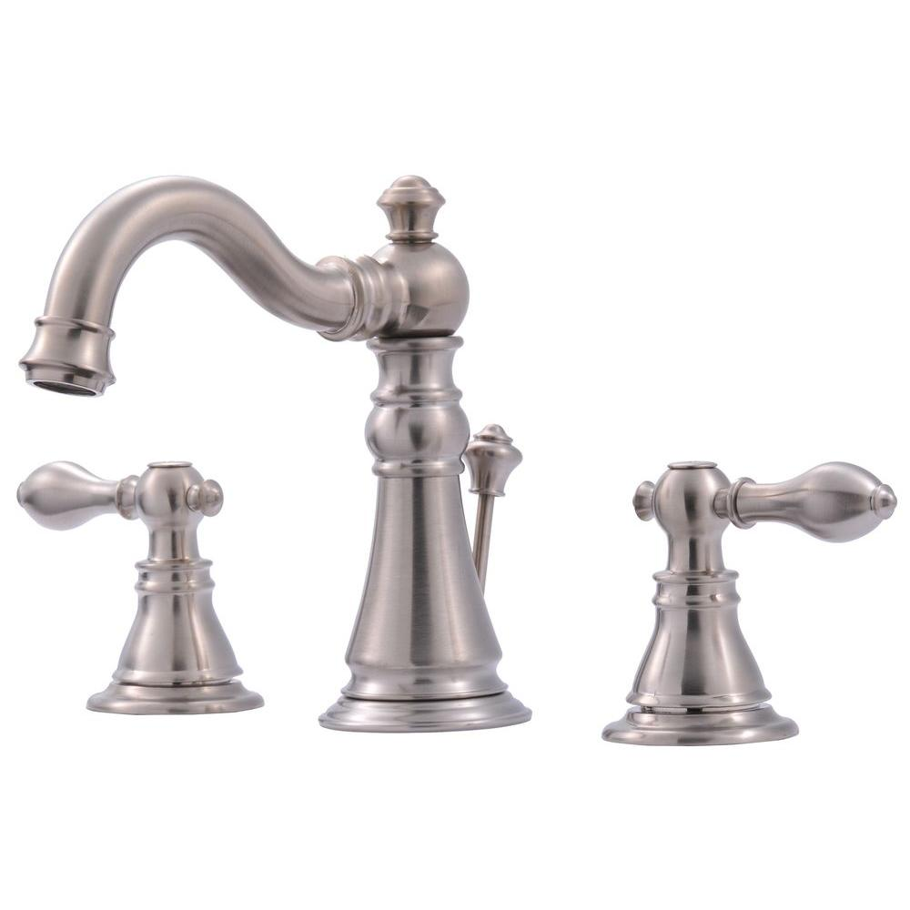 brushed nickel bathroom fixtures ultra faucets signature collection 8 in widespread 2 17542