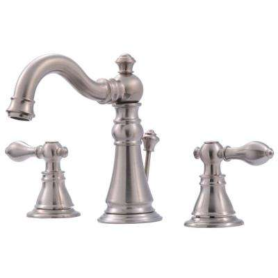 Signature Collection 8 in. Widespread 2-Handle Bathroom Faucet with Pop-Up Drain in Brushed Nickel