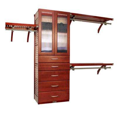 16 in. Deep Deluxe Closet System with Doors and 5 Drawers (6 in. and 8 in. Deep) Herd Mahogany
