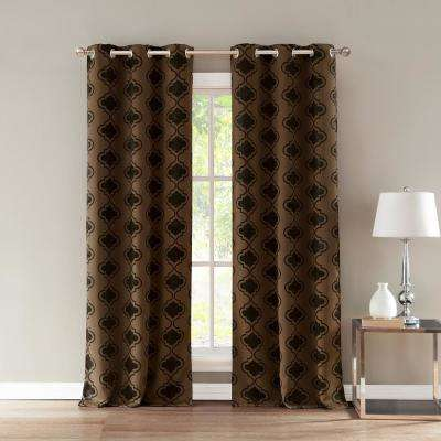 Crystal 36 in. W x 84 in. L Polyester Window Panel in Chocolate