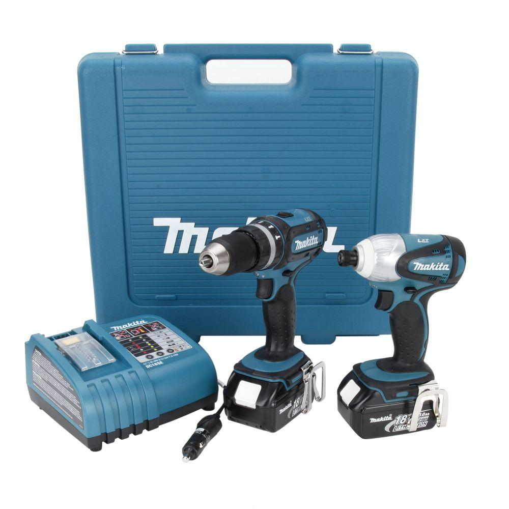 Makita 18-Volt LXT Lithium-Ion Cordless Hammer Drill/Impact Driver Combo Kit (2-Tool) w/ (2) 3Ah Batteries, Automotive Charger