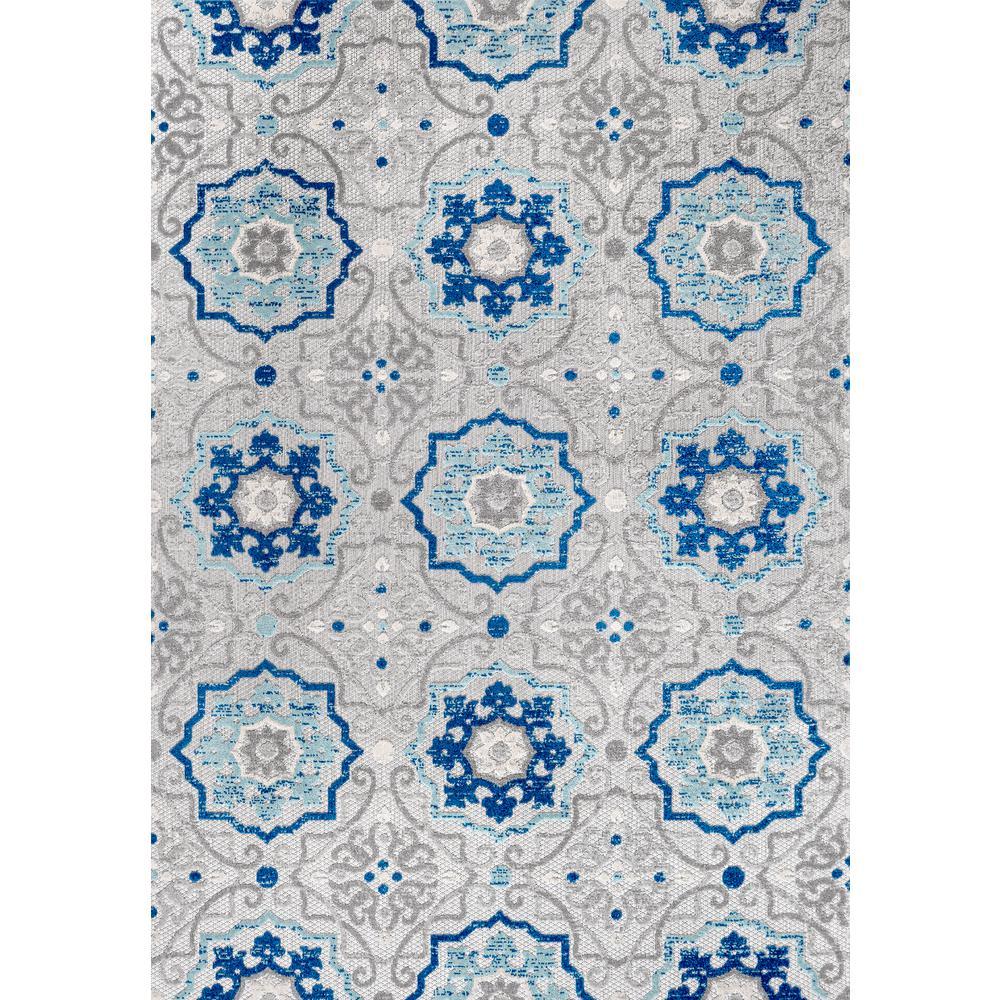 Mediterranean Medallion Blue/Gray Indoor/Outdoor 8 ft. x 10 ft. Area Rug