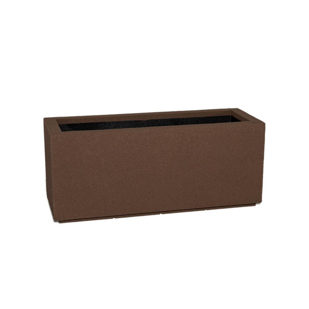Milan Tall 46 in. x 19 in. Brown Trough Planter