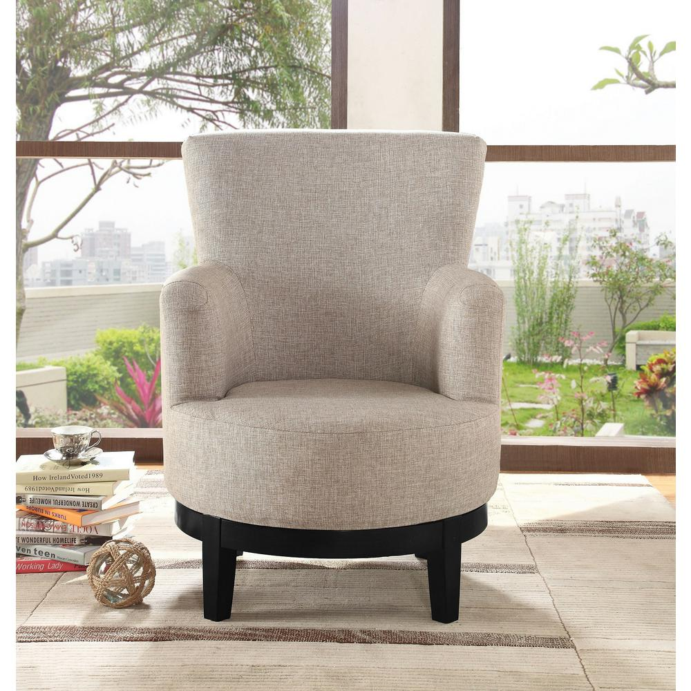 Light Brown Swivel Accent Chair