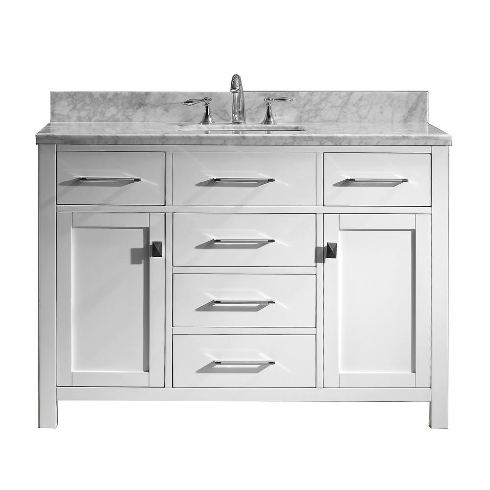 Virtu USA Caroline 49 in. W Bath Vanity in White with Marble Vanity Top in White with Square Basin and Faucet