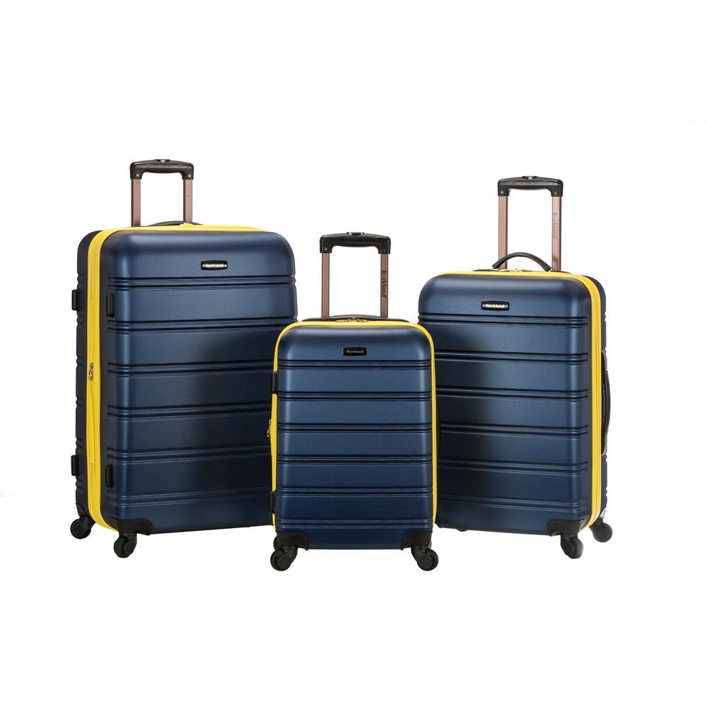 Rockland Melbourne 3-Piece Hardside Spinner Luggage Set, Navy