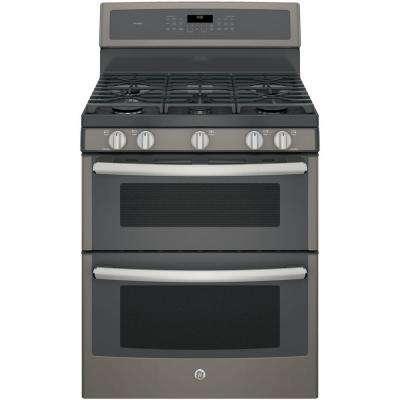 30 in. 6.8 cu. ft. Double Oven Gas Range with Self-Cleaning Convection Oven (Lower Oven) in Slate