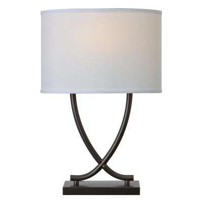 Valerie 25 in. Graphite Table Lamp with White Shade