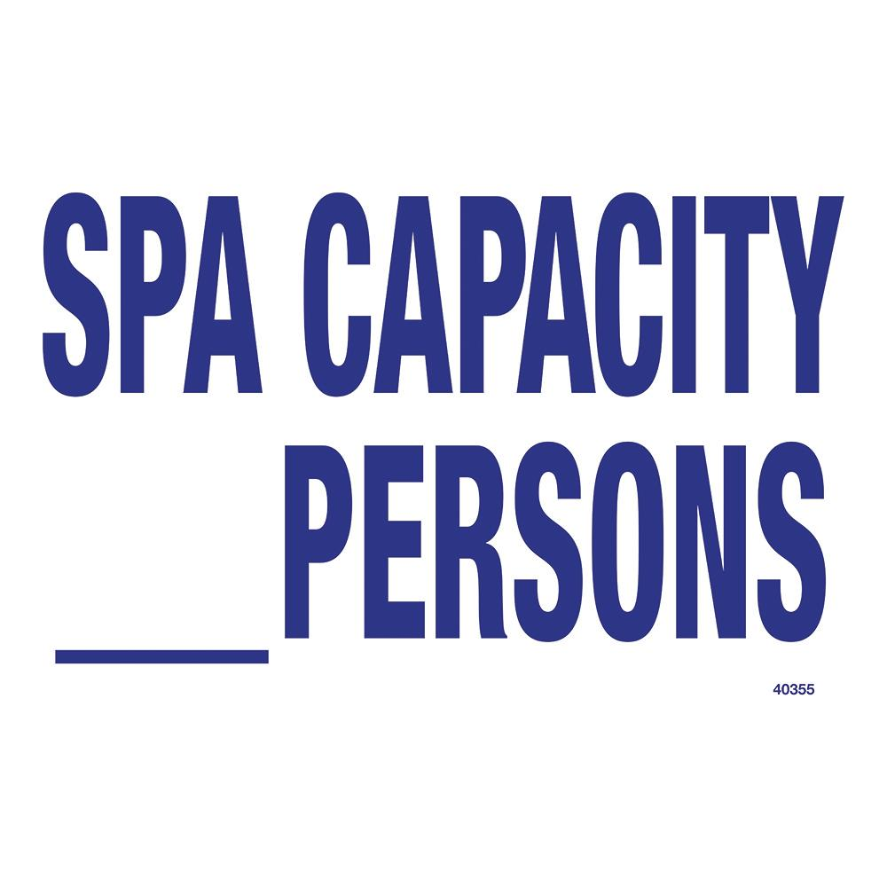 Residential or Commercial Swimming Pool Signs, Spa Capacity
