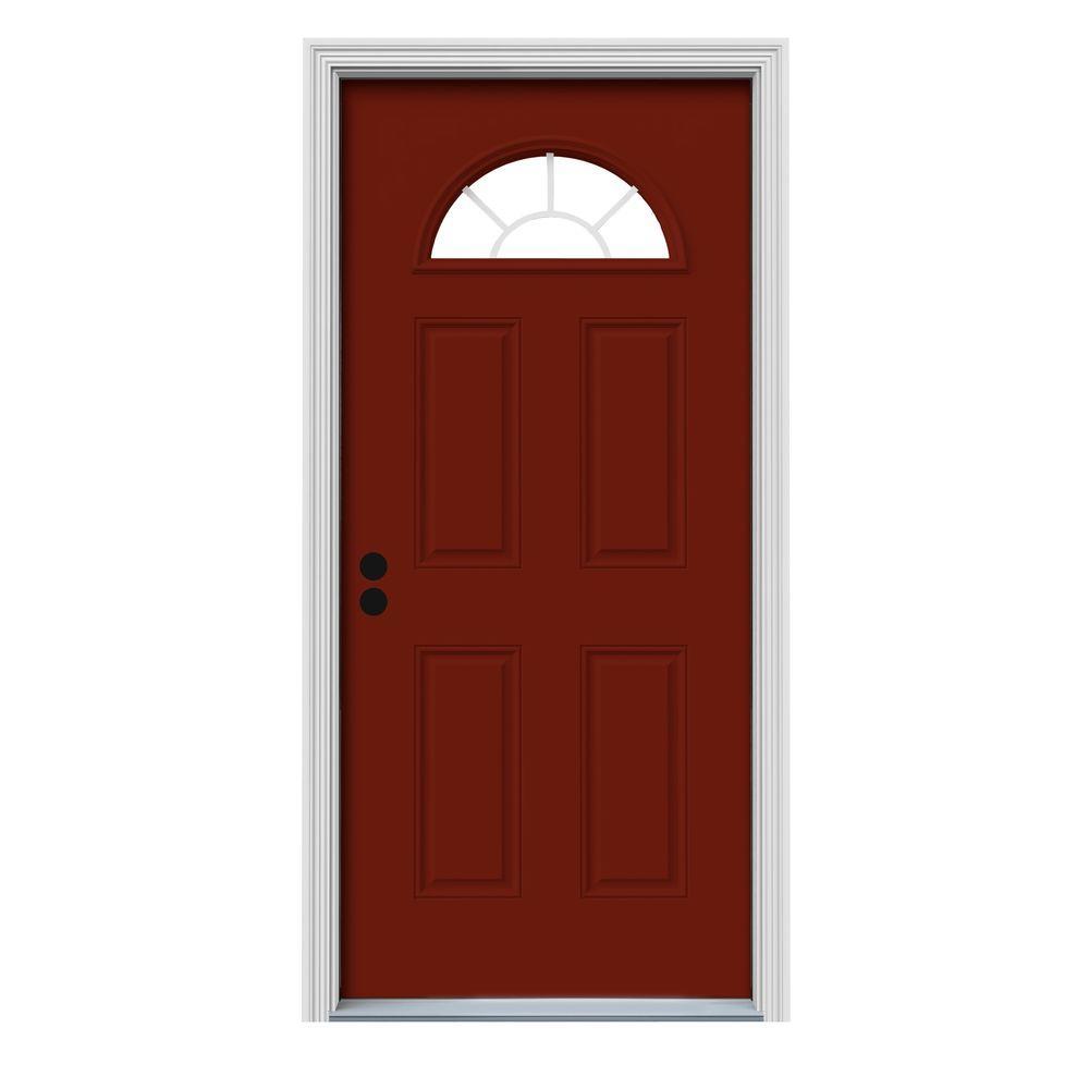 JELD-WEN 30 in. x 80 in. Fan Lite Mesa Red w/ White Interior Steel Prehung Right-Hand Inswing Front Door w/Brickmould