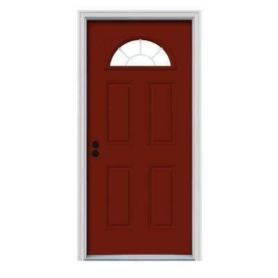 30 in. x 80 in. Fan Lite Mesa Red w/ White Interior Steel Prehung Right-Hand Inswing Front Door w/Brickmould
