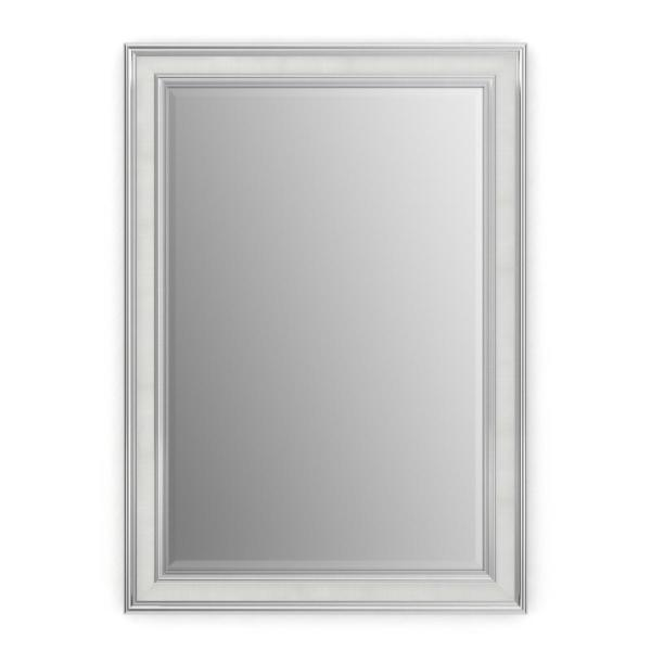 33 in. W x 47 in. H (L1) Framed Rectangular Deluxe Glass Bathroom Vanity Mirror in Chrome and Linen