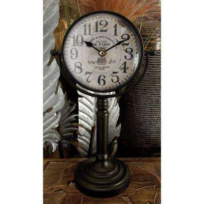 13 in. x 7 in. White and Black Iron Vintage-Style Round Table Clocks (Set of 2)