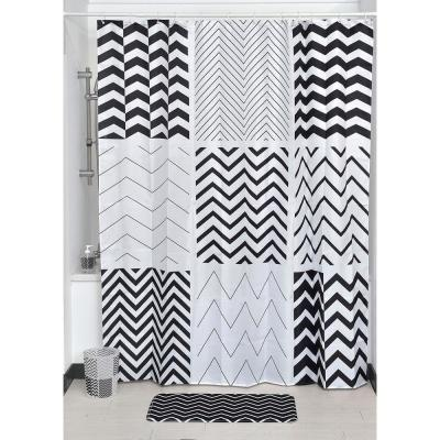 71 in. W x 79 in. H Zigzag Printed Polyester Fabric Shower Curtain