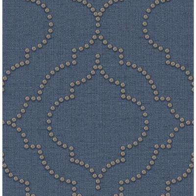 56.4 sq. ft. Chelsea Blue Quatrefoil Wallpaper