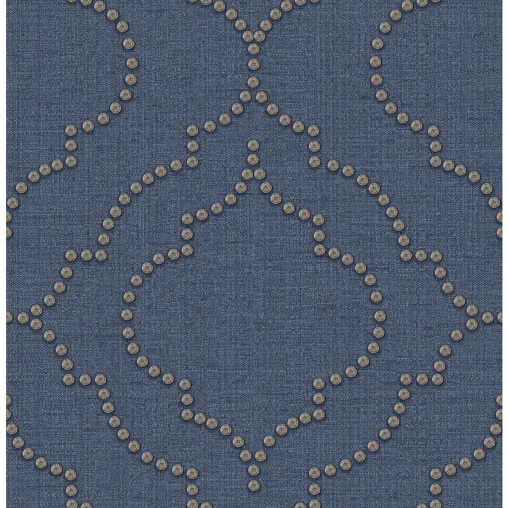Chelsea Blue Quatrefoil Blue Wallpaper Sample
