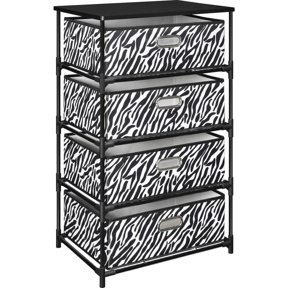 Delicieux Ameriwood Home Haley Black With Zebra Print 4 Bin Storage End Table
