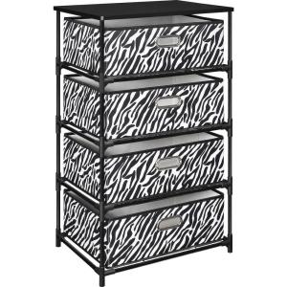 Ameriwood Home Haley Black with Zebra Print 4-Bin Storage End Table by Ameriwood Home