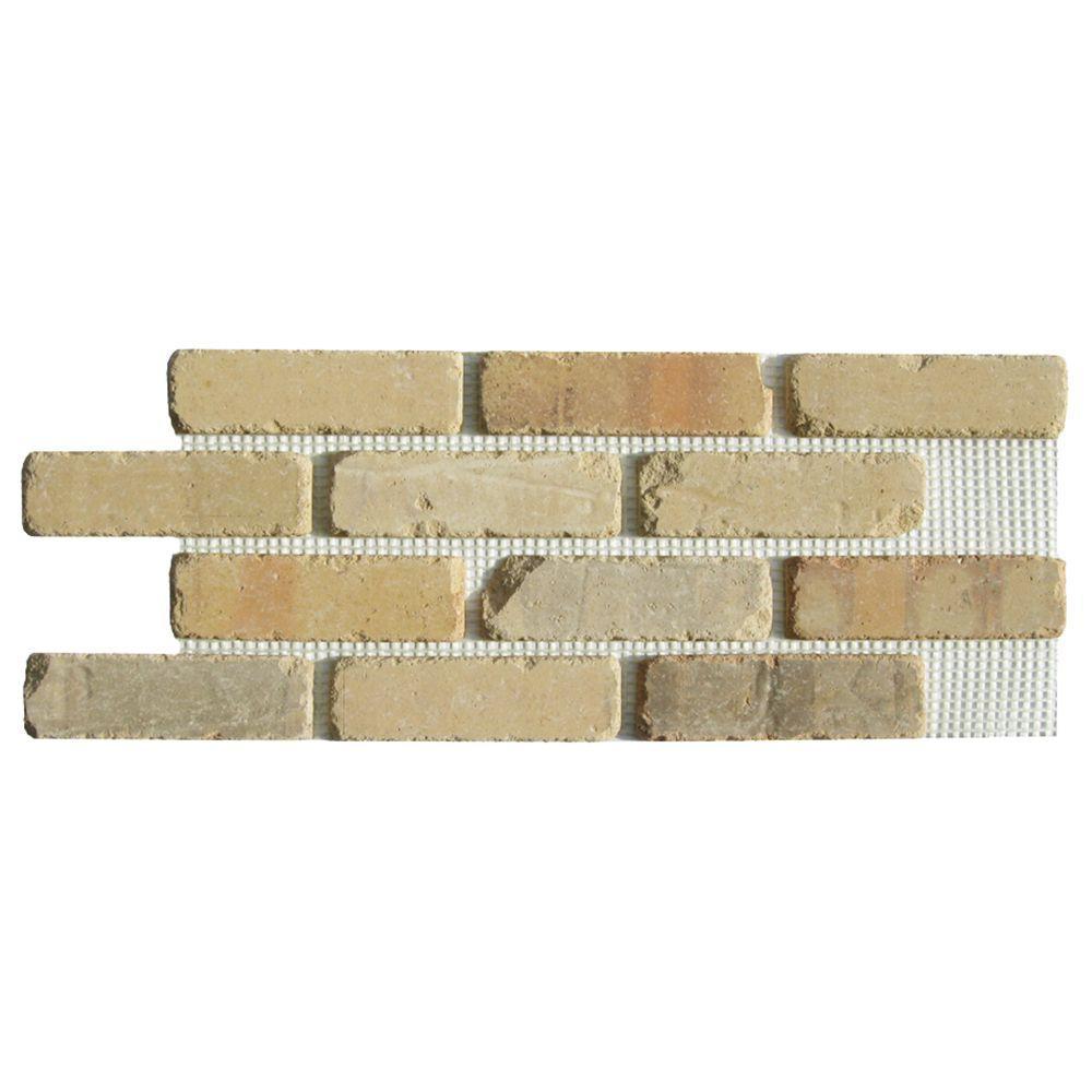 Brickwebb Alamo Sunrise Thin Brick Sheets - Flats (Box of 5 Sheets) - 28 in x 10.5 in (8.7 sq. ft.)