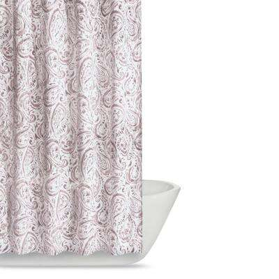 Watercolor Paisley 72 in. Blush Pink Shower Curtain