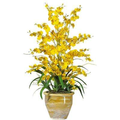 triple dancing lady silk flower arrangement in yellow