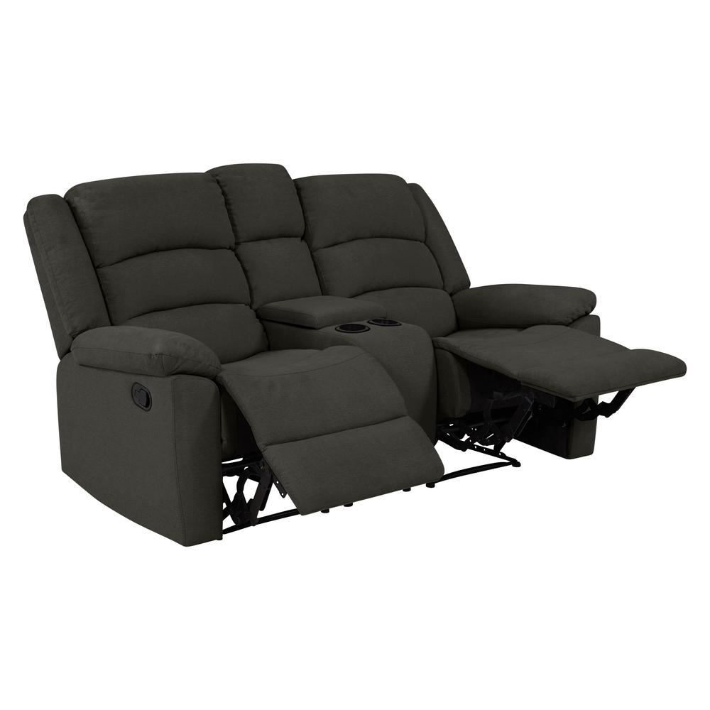 Prolounger 2 Seat Charcoal Gray Plush Low Pile Velvet Wall Hugger Recliner Loveseat With