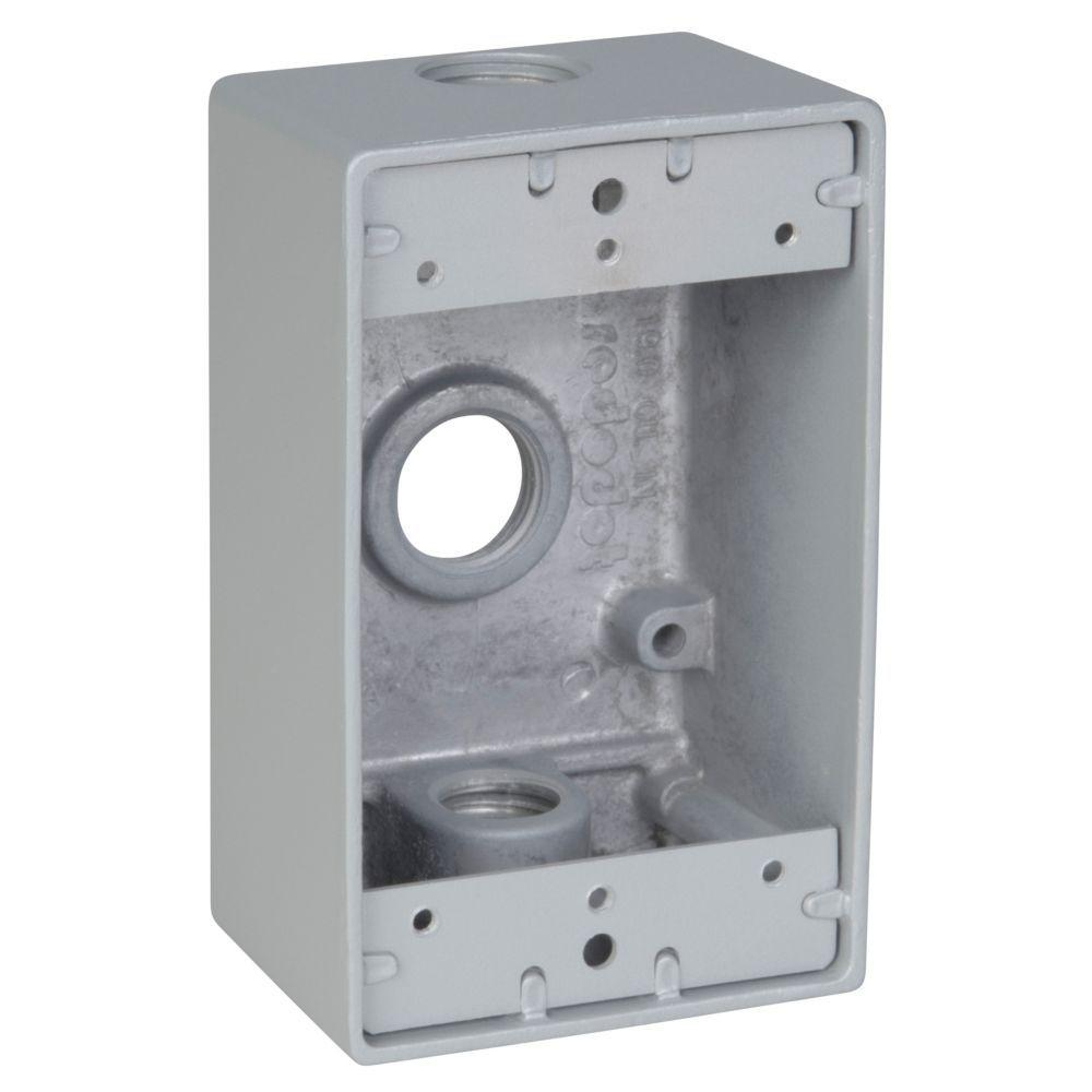 1 Gang Rectangular Weatherproof Outlet Box with 3 1/2 in. Holes