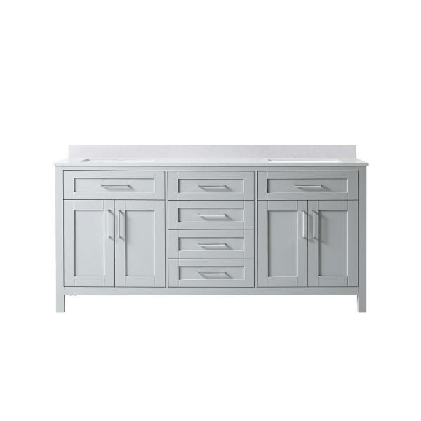 Tahoe 72 in. W Bath Vanity in Dove Grey with Cultured Marble Vanity Top in White with White Basins