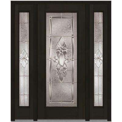 64 in. x 80 in. Heirloom Master Right-Hand Full Lite Decorative Fiberglass Mahogany Prehung Front Door with Sidelites