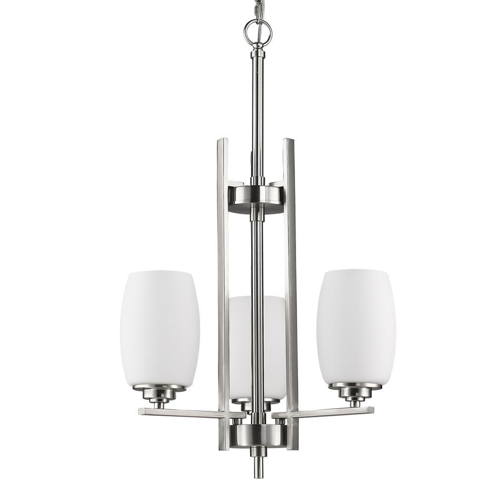 Sophia Indoor 3-Light Satin Nickel Mini Chandelier with Glass Shades