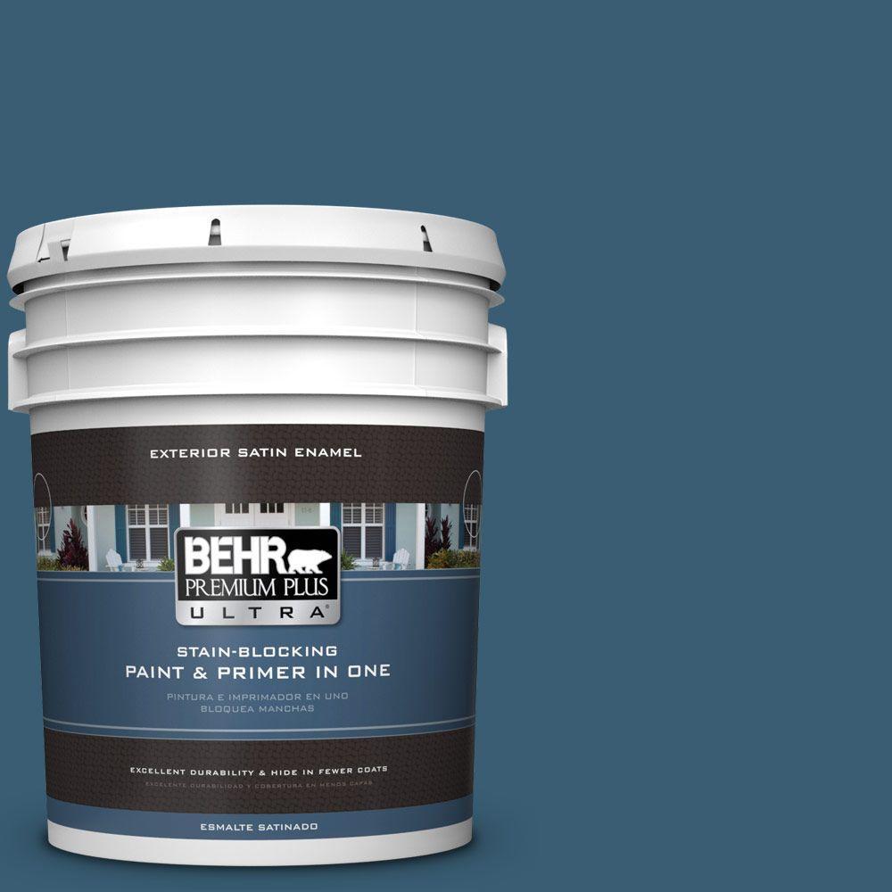 BEHR Premium Plus Ultra 5-gal. #S490-7 Superior Blue Satin Enamel Exterior Paint