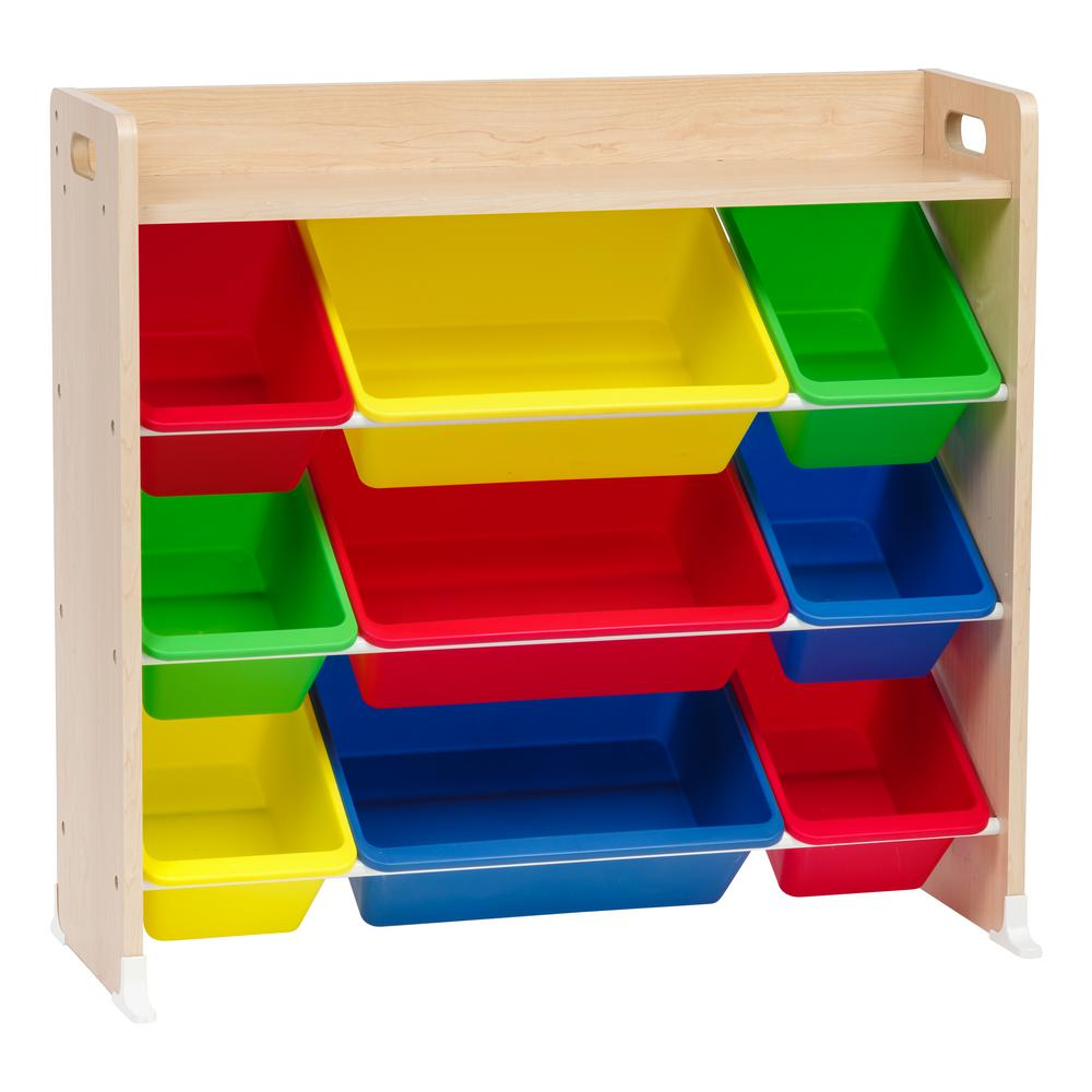 Iris Primary 3 Tier Multi Colored Toy Storage Bin Rack With Shelf