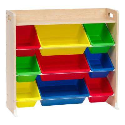 Primary 3-Tier Multi-Colored Toy Storage Bin Rack with Shelf