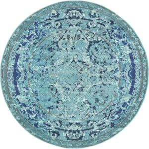 Medici Salamanca Light Blue 6' 0 x 6' 0 Round Rug