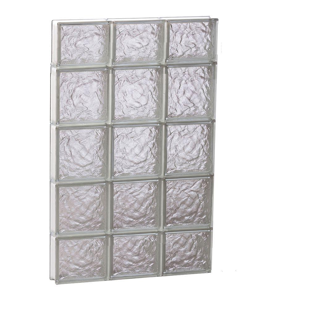 23.25 in. x 34.75 in. x 3.125 in. Frameless Ice Pattern Non-Vented Glass Block Window
