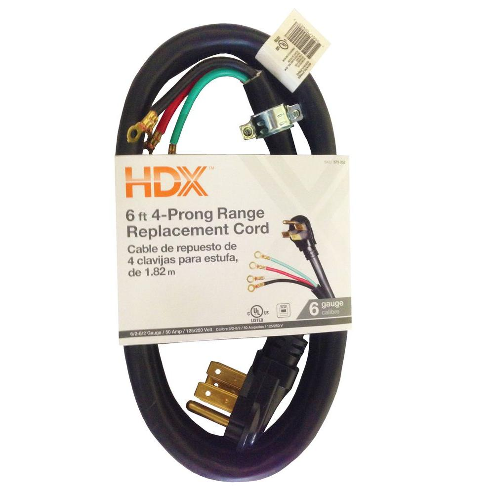 HDX 6 ft. 6/8 4-Wire Range Extension Cord-HD#575-052 - The Home Depot