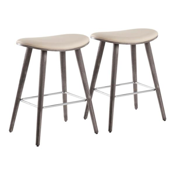 Saddle 25 in. Grey Counter Stool in Cream Faux Leather with Chrome Metal (Set of 2)