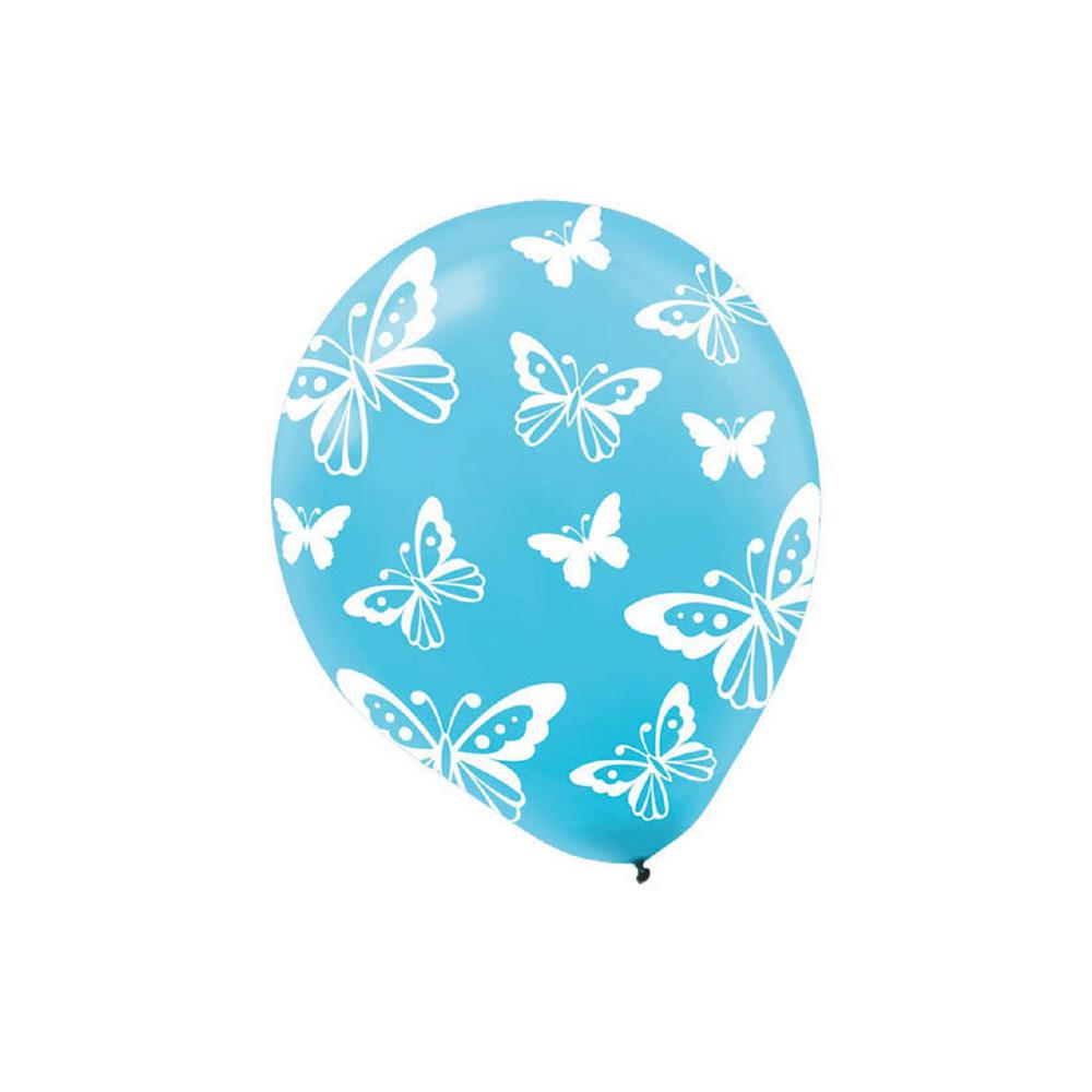 AMSCAN 12 in. Blue Butterfly Print Latex Balloons (6-Coun...
