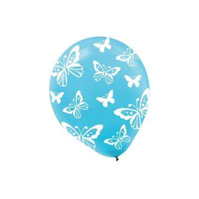 12 in. Blue Butterfly Print Latex Balloons (6-Count, 9-Pack)