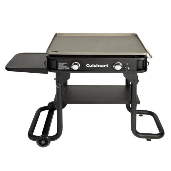 28 in. Portable 2-Burner Propane Gas Griddle in Black